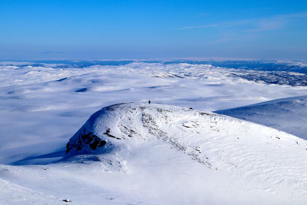 En østlig fortopp til Blåbergi (1.522 moh) med flott utsikt mot Reineskarvet.