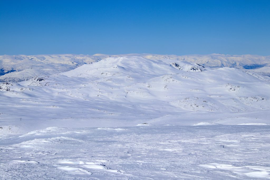 Utsikt mot Bleia, et annet flott topptur-fjell ved Sognefjorden. Jostedalsbreen i horisonten.
