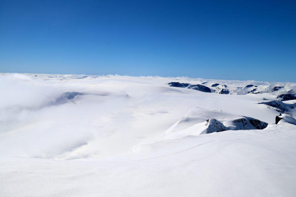 Utsikt sørover Jostedalsbreen fra toppen av Lodalskåpa.