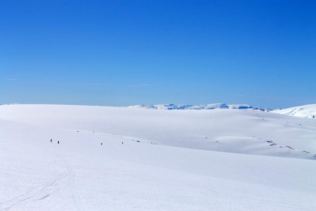 Oppe på breplatået til Nordfonna ovenfor Botnabreen.