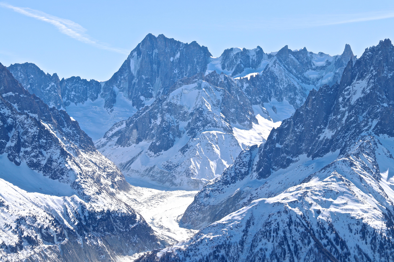 Nedre delen av skiruten Vallée Blanche - her ser vi deler av Mer de Glace.
