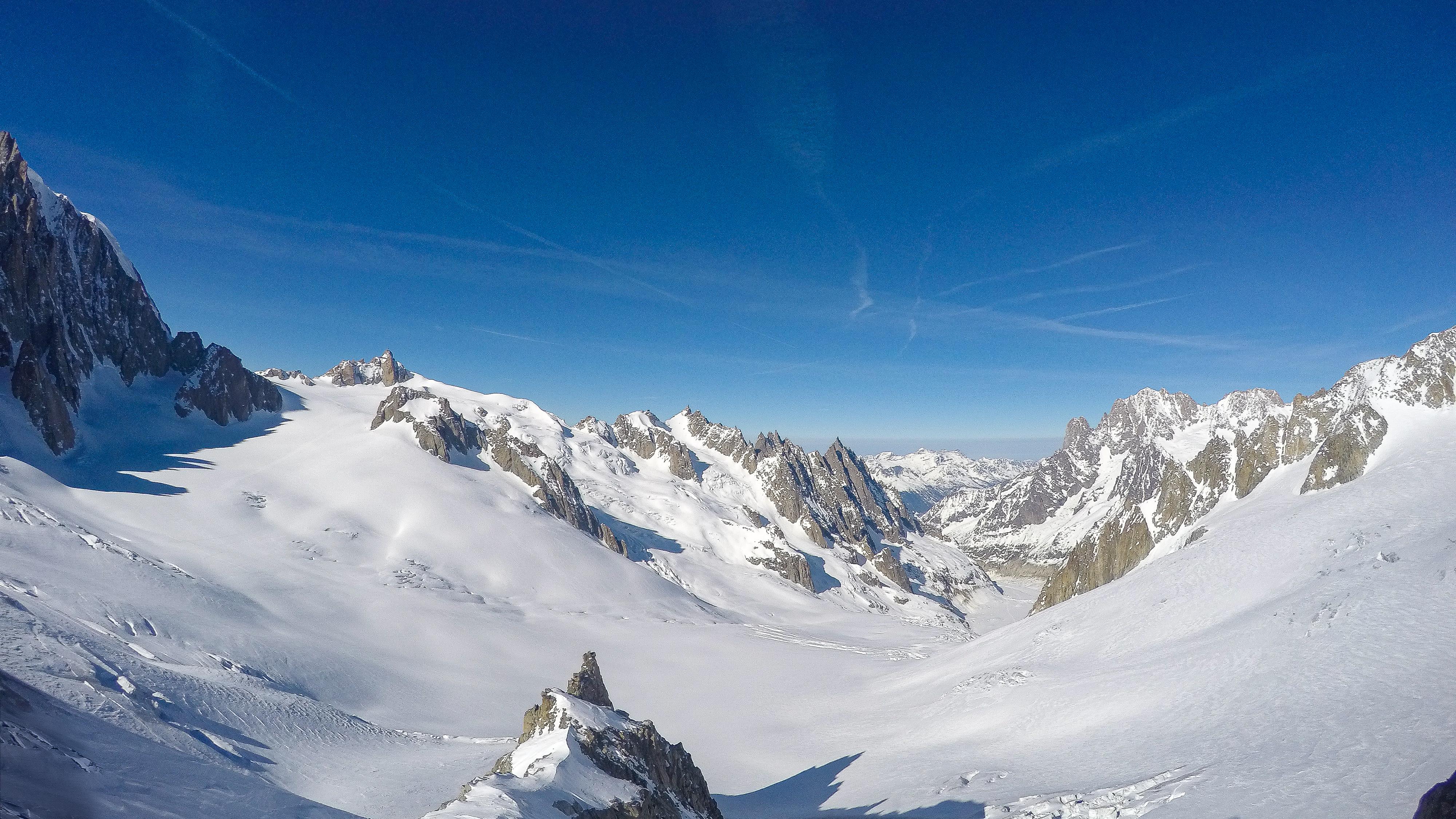 Utsikt fra Petit Flambeau over Glacier du Géant.
