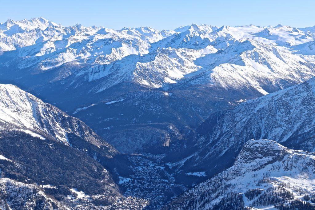 The Italian town Courmayeur seen from Pointe Helbronner (3.462 moh).