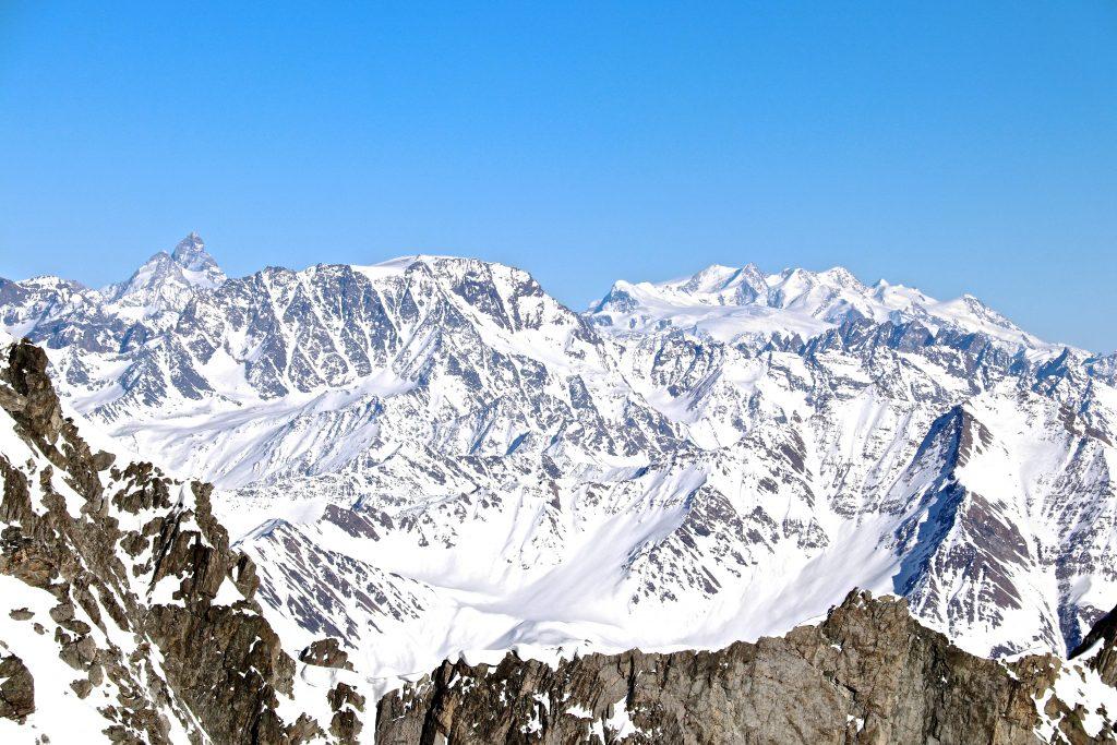 Utsikt fra Pointe Helbronner mot Matterhorn og Monte Rosa.