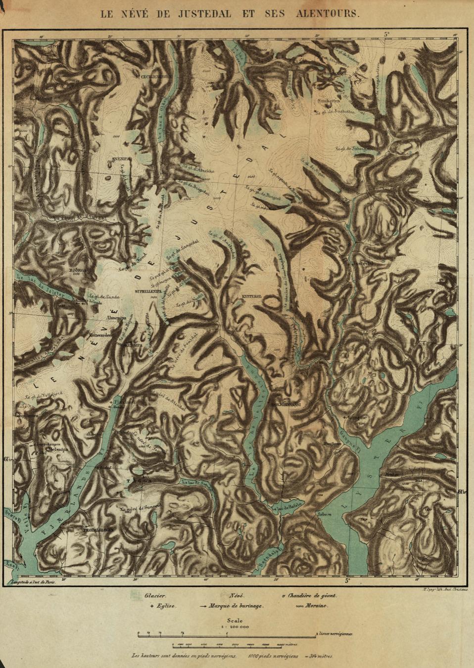 Flere av områdene rundt Jostedalsbreen var fremdeles ukjente mot slutten av 1800-tallet. Kilde: Kartverket (M. Lyng's lith. Anst. Christiania 1890).