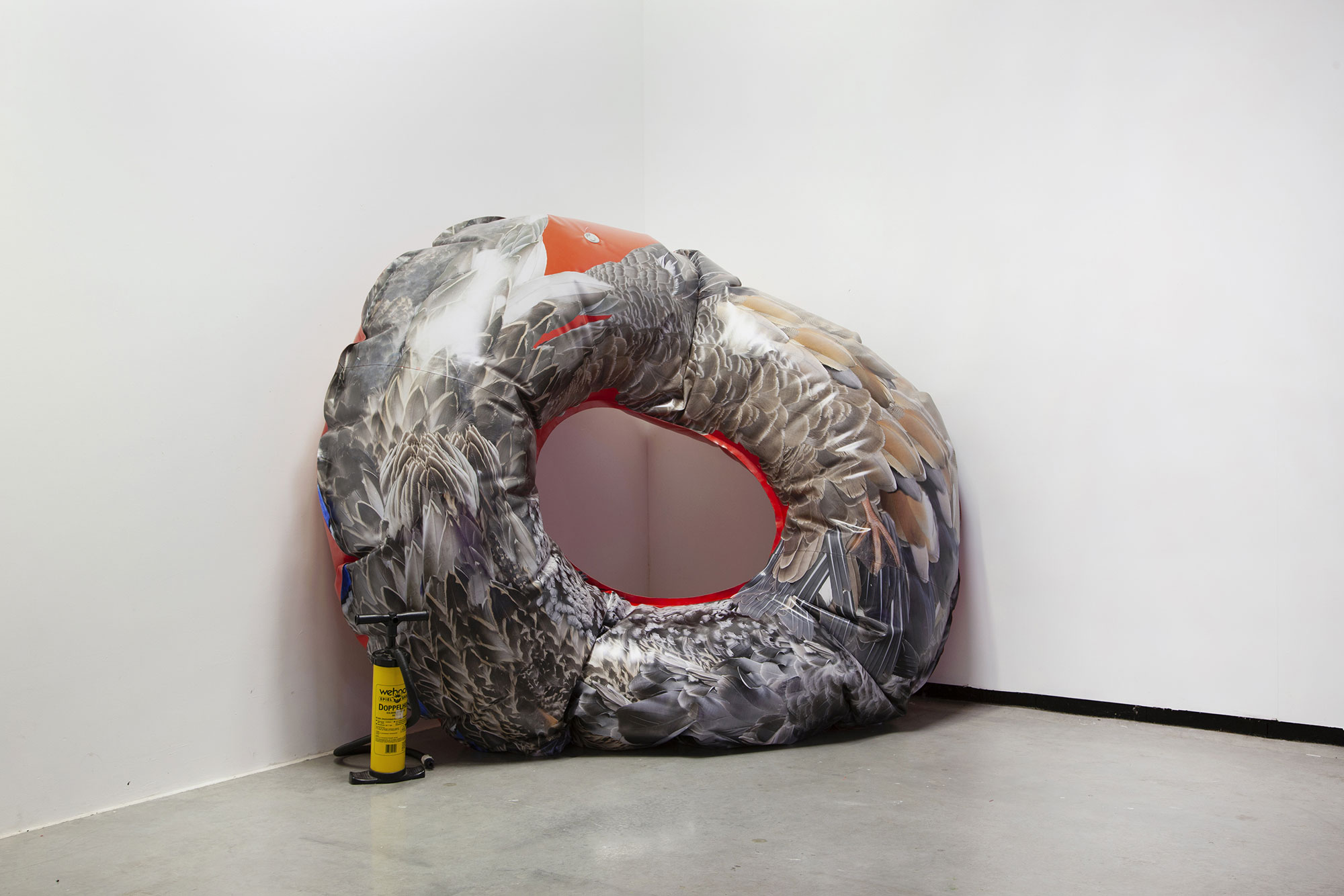 Medusa : floating body #3, feathered floating ring, printed PVC, 180x200x50cm, installation view, 2020