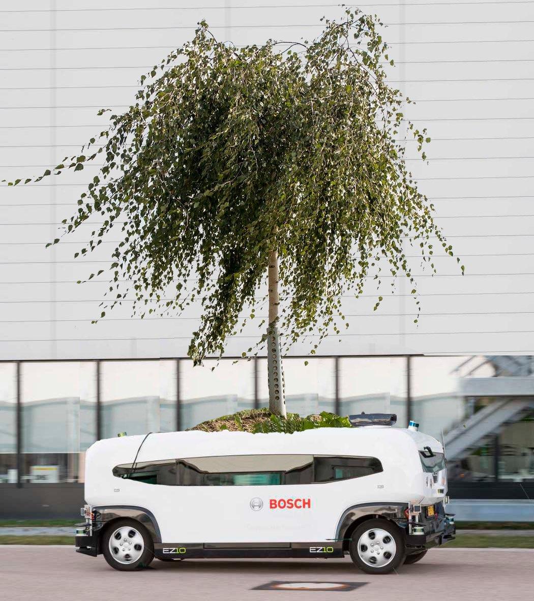 Visualisierung - autonom fahrende Birke im öffentlichen Straßenverkehr im Niedriggeschwindigkeitssektor