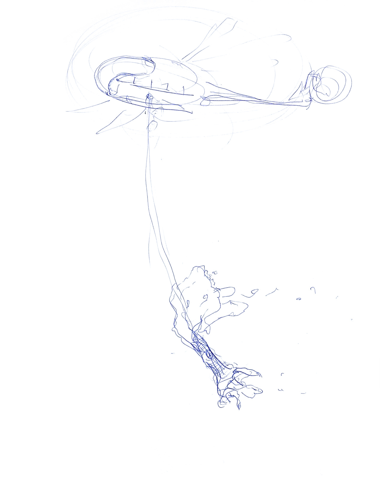 Jukai-Ryokō, idea sketch, ballpoint pen drawing on paper, 2020