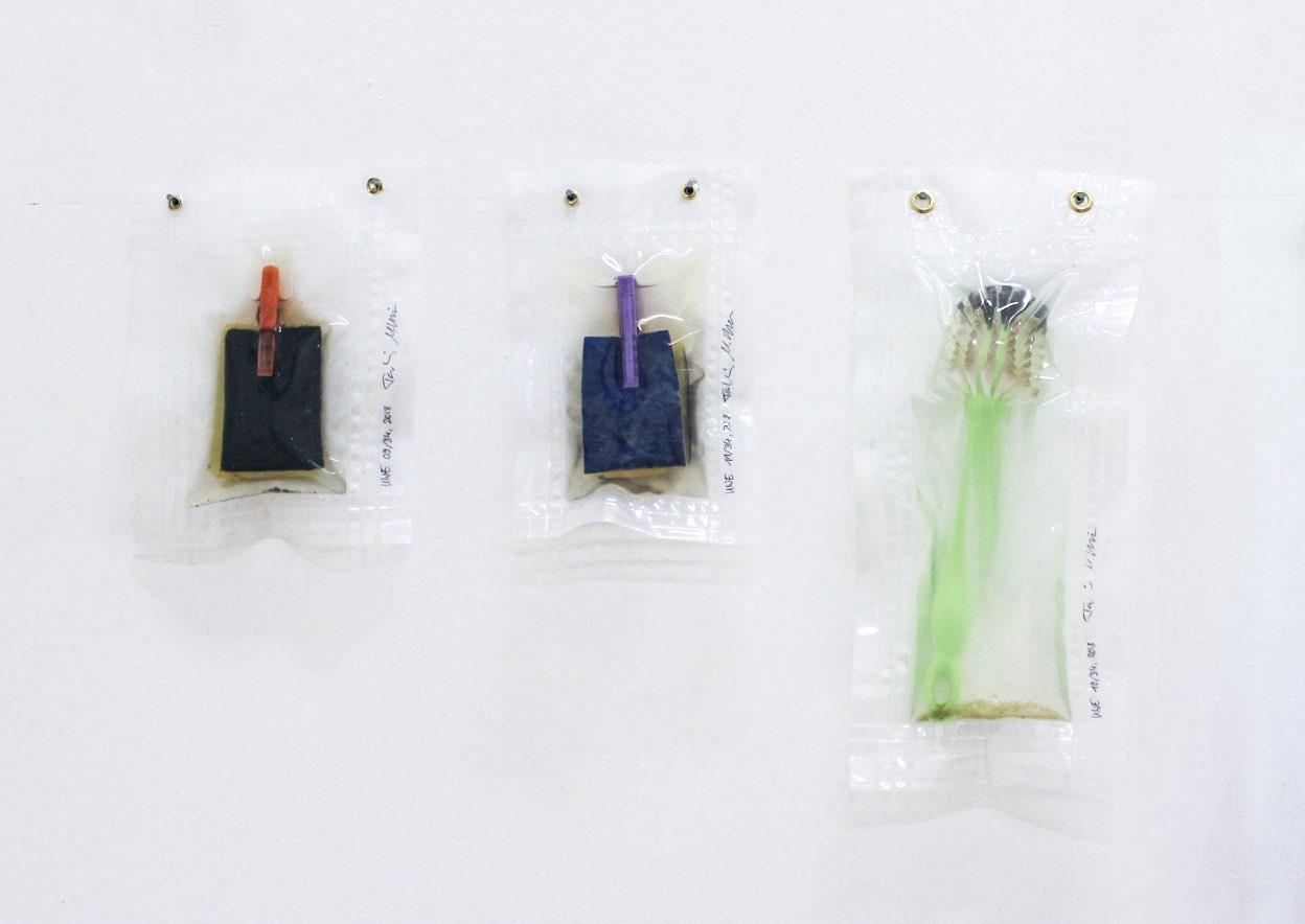 UWE (Unterwasserlebensentwurf - vacuum-edition), exhibition view, sponge and washing-up brush, 2019