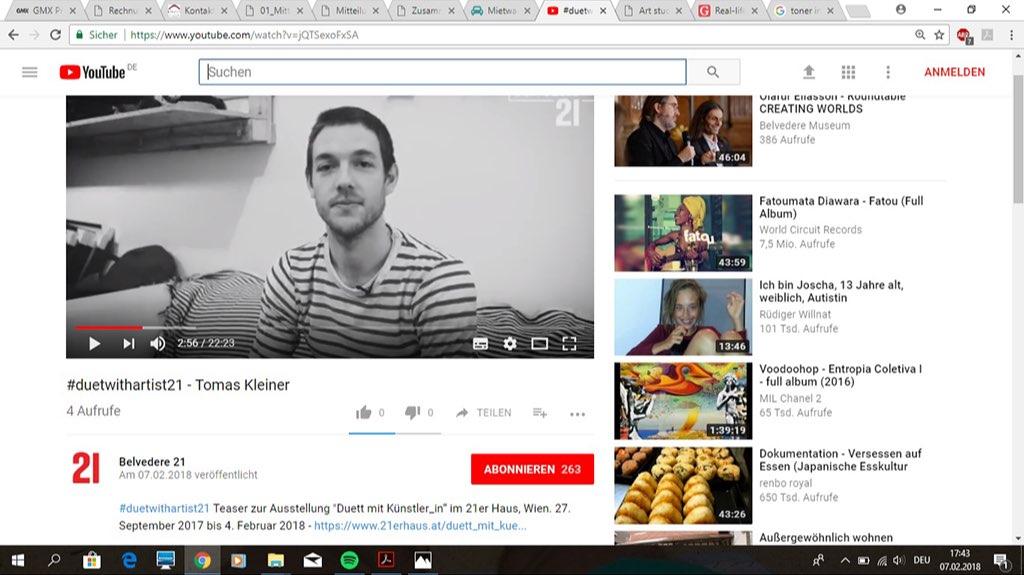 Verbindungsstück#2, video-Interview on youtube, 2017