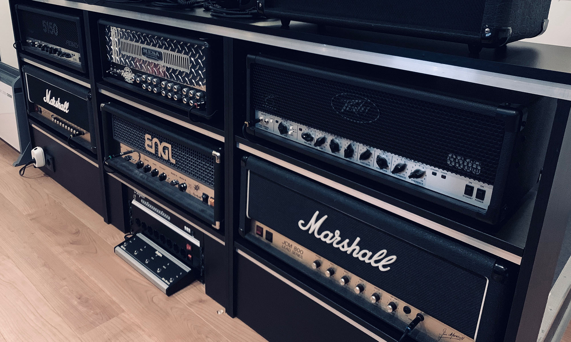 Guitar amp collection in the Toneshed control room