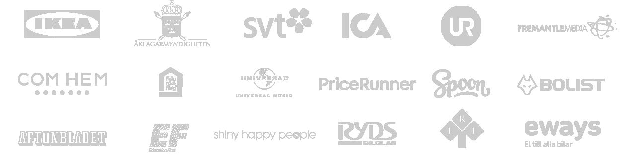 Cleint logos Animation Produktionsbolag Stockholm
