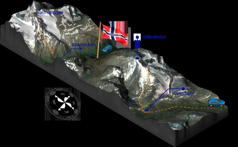 3D karta Galdhöpiggen Glittertind
