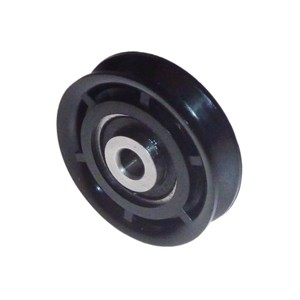 gelagerde kabelschijf 52 mm, deze kabelschijf heeft een asdiameter van 8 mm, ook is deze kabelschijf verkrijgbaar met stalen ophang beugel.