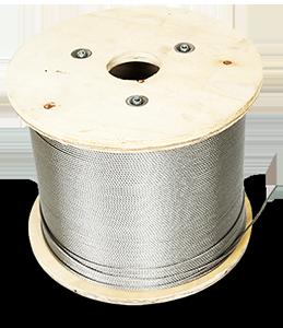 Staaldraad 5 m/m constructie 6x12+7 wordt geleverd op een bosje van 100 meter. Deze staal draad is gegalvaniseerd