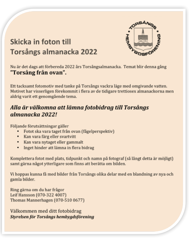 Var med och skapa Torsångs almanacka 2022