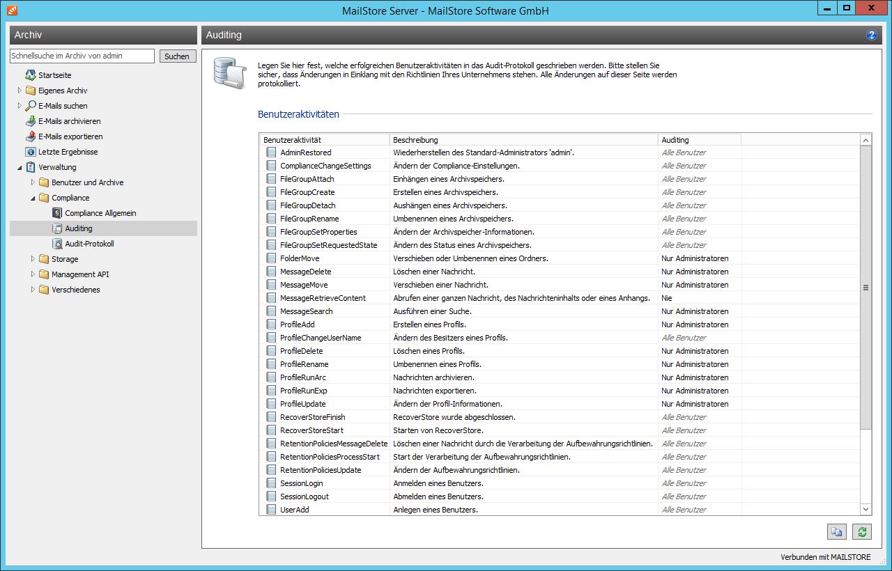 Mailstore Archivierung