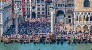 Mass tourism in Venice Italy