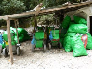 Rubbish from tourism at Machu Picchu