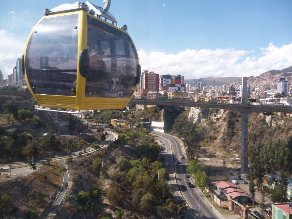 Yellow line of Teleferico above La Paz Bolivia