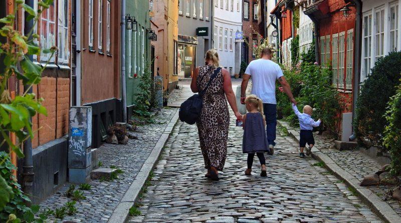 A family in Denmark enjoying family time in the city