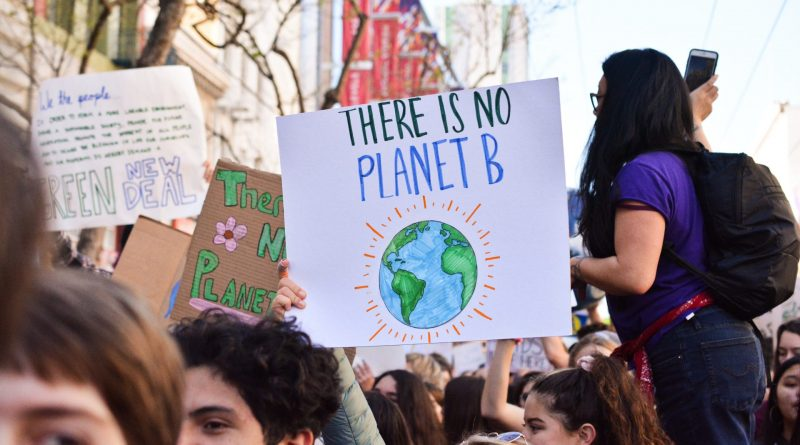 A group of mainly young people are demonstrating in the street to fight climate change