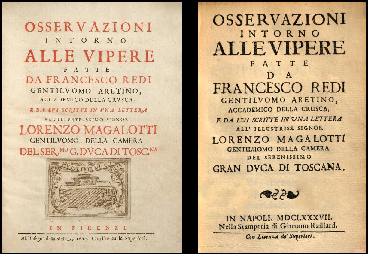 """Title page for Francesco Redi's publication """"Observazioni Intorno Alle Vipere"""""""