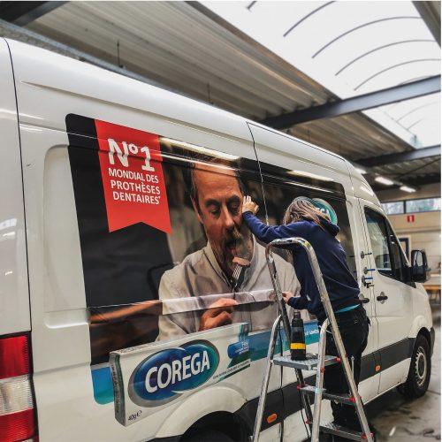 Belettering camionette Corega - PostNL