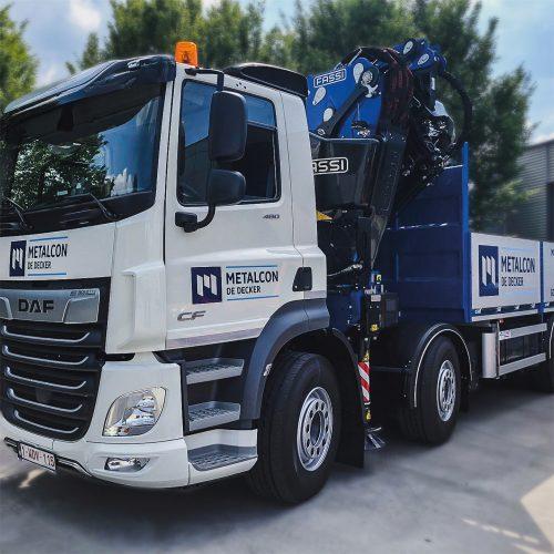 Belettering vrachtwagen Metalcon De Decker Bornem