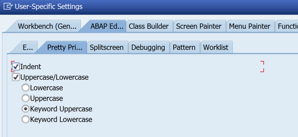 abap pretty printer settings