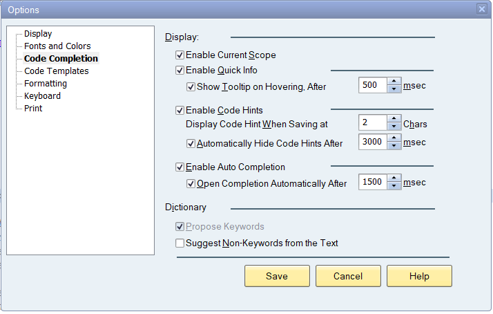ABAP Code completion settings