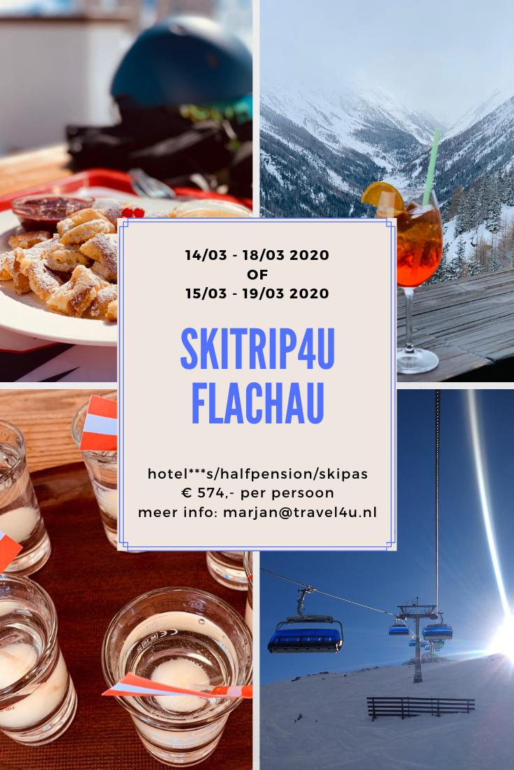 Skitrip4U Flachau 2020 14/03-18/03 2020  of  15/03-19/03 2020 5 dagen / 4 nachten Hotel Alpenwelt 3*s - halfpension 3 dagen skipas toeristenbelasting eigen vervoer  € 574,- per persoon info@ marjan@travel4u.nl