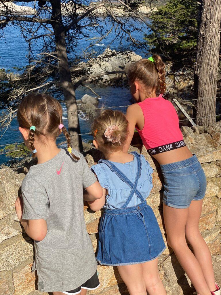 3 meisjes starend naar de oceaan langs highway one