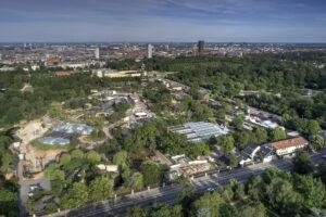 Aerial view of Copenhagen Zoo located in Frederiksberg, Denmark