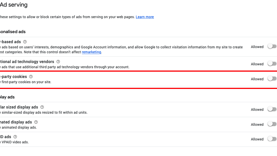 How to allow first-party cookies in Adsense