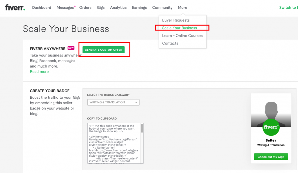 How to generate a custom offer in Fiverr.