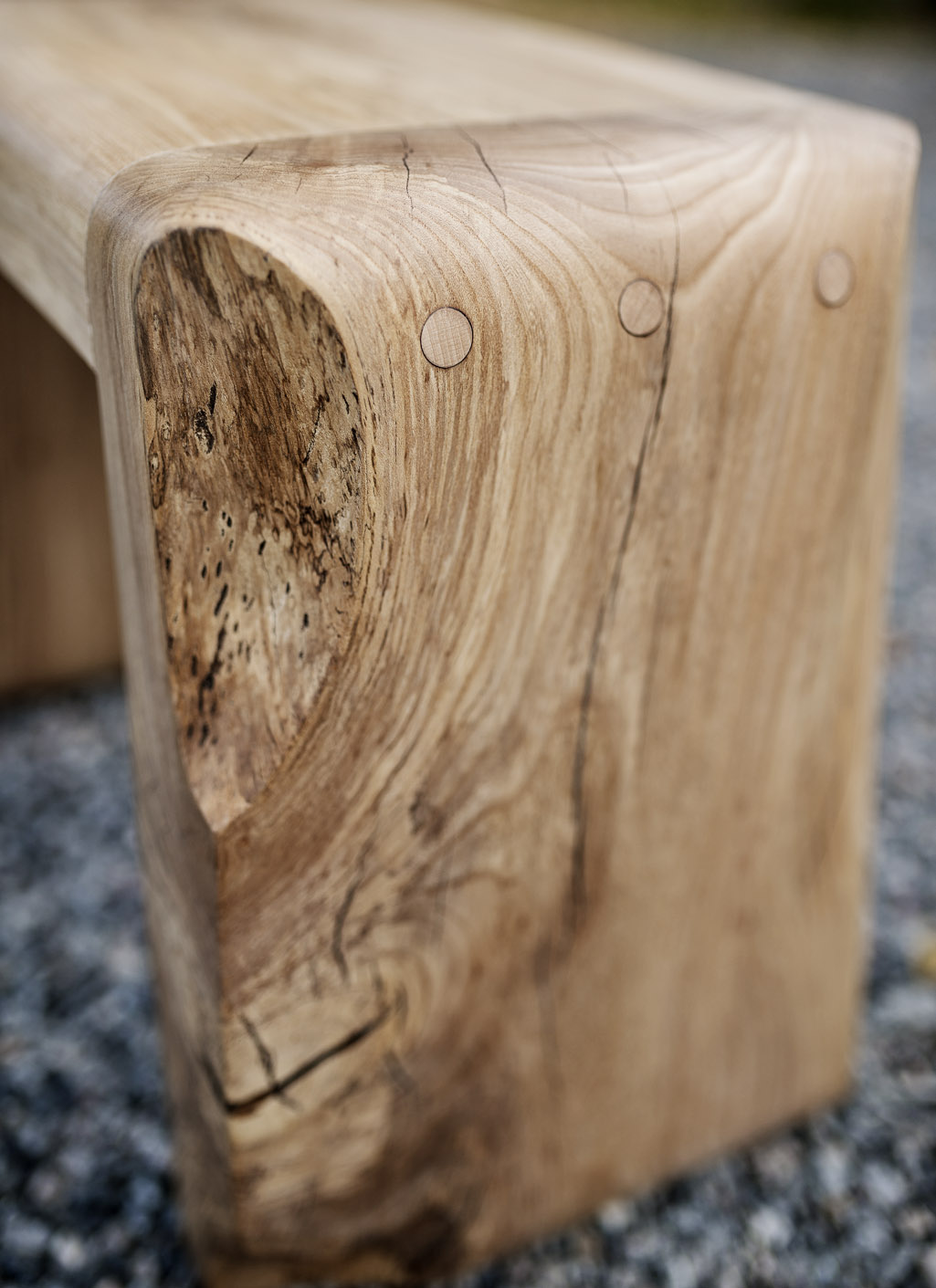 Small Rounded Stool in Elm #009