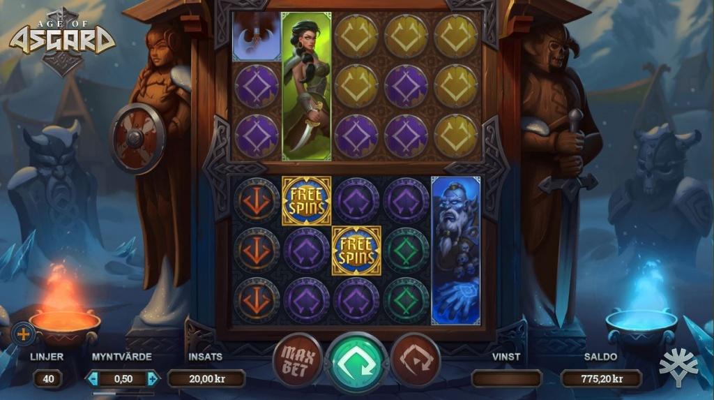 Spelvy av Age of Asgard på ett online casino