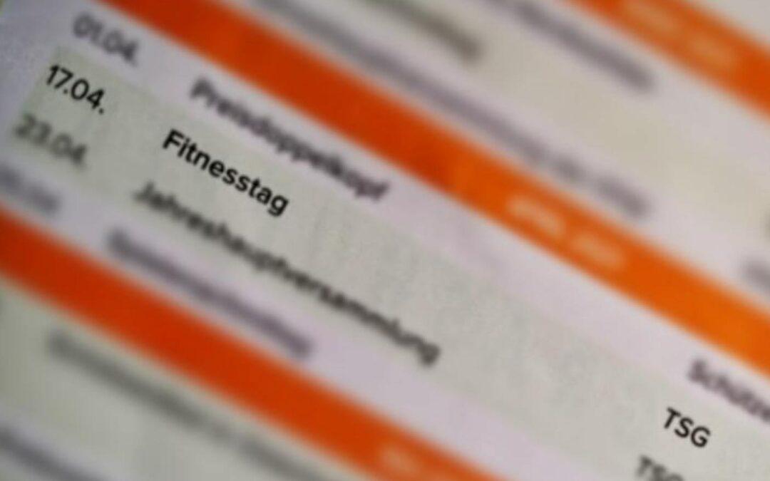 Geplanter Fitnesstag am 17.04.2021 findet nicht statt