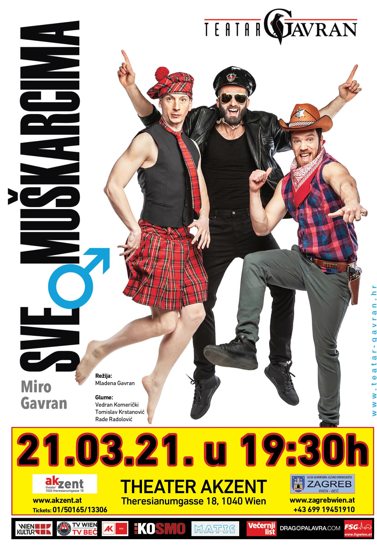 """Popularna komedija """"Sve o muškarcima"""" – """"Alles über Männer"""" – Mire Gavrana u bečkom kazalištu Akzent 21.03.2021"""