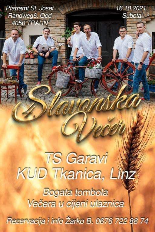 KUD Tkanica – Linz organizira tradicionalnu Slavonsku večer 16.10.2021