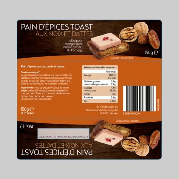Pain d'épices toast aux noix et dattes