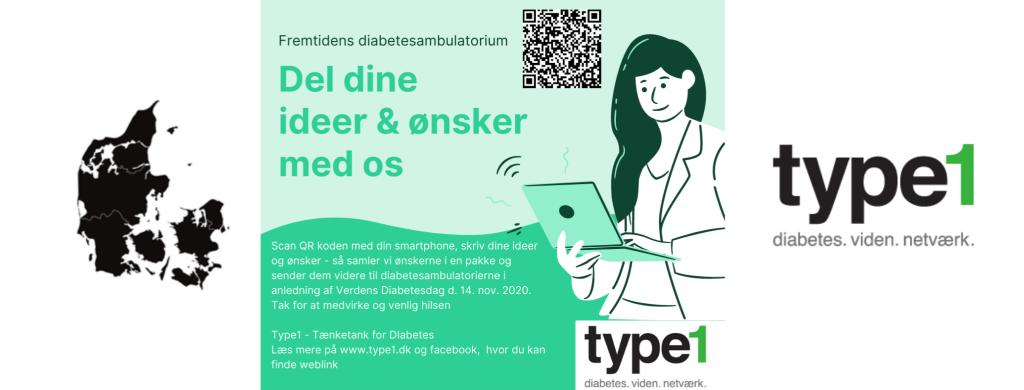 Et billed af kampagnen for fremtidens diabetesambulatorium med qr kode