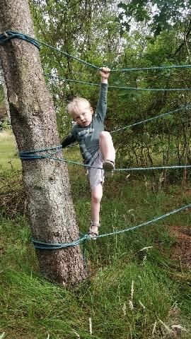 Moritz som klatrer på reb bundet til træerne.