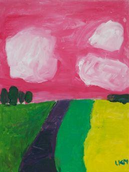 roze lucht schilderij