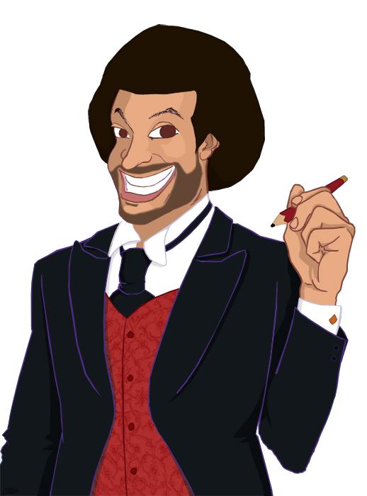 Cartoon of Curtis Allen holding a pencul