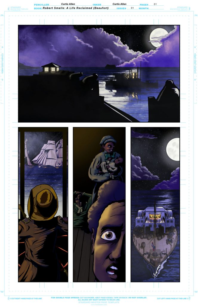 The second page of the Robert Smalls graphic novel in progress. Lighting and shading and a few effects added.