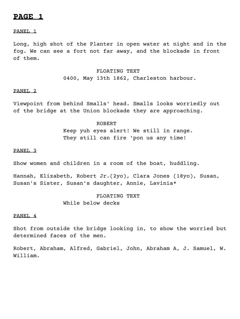 Script of the first page of the Robert Smalls Graphic Novel