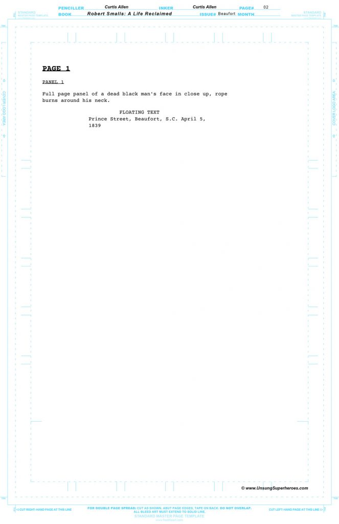 The Script for page 3 of the Robert Smalls Graphic Novel