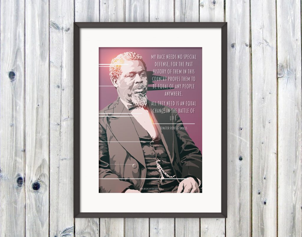 Vector portrait of Robert Smalls mounted and framed on a wooden wall.